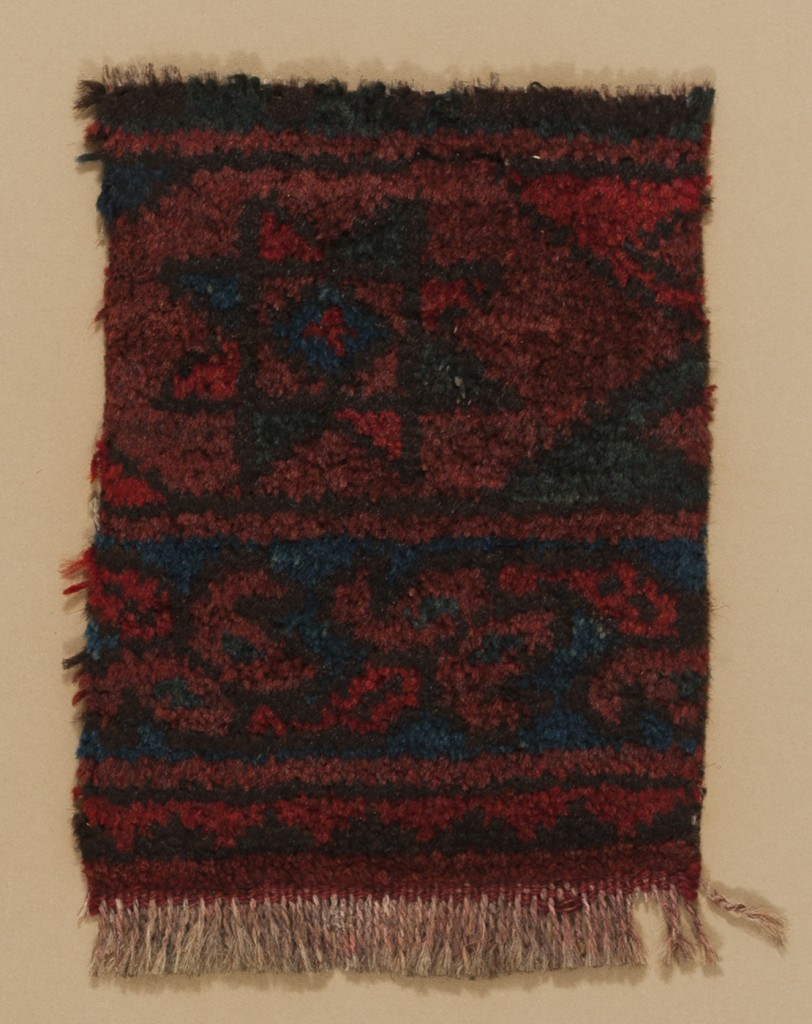 Maker: Unknown Culture: Bokhara Title: Rug weave Date Made: 19th century Type: Textile Materials: woven; wool Place Made: Central Asia Measurements: Mount: 18 in x 14 in; 45.7 cm x 35.6 cm; sheet: 8 in x 5 5/8 in; 20.3 cm x 14.3 cm Credit Line: Gift of George D. Pratt Accession Number: T.1929.14 Collection: Mead Art Museum, Amherst College