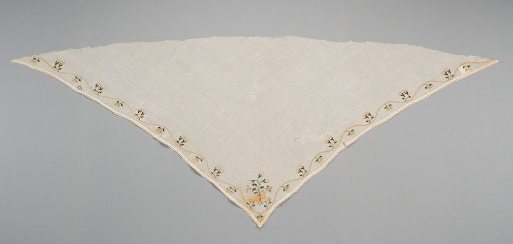 Maker: Unknown<br /> Culture: Indian (possibly)<br /> Title: Fragment<br /> Date Made: 1790-1805<br /> Type: Clothing<br /> Materials: Textile: polychrome silk embroidery (tambour or chain stitch); white plain weave, sheer cotton (mull)<br /> Credit Line: Gift from Mrs. Fred Thompson (nee Julia Acheson)<br /> Accession Number: T.093<br /> Collection: Historic Deerfield