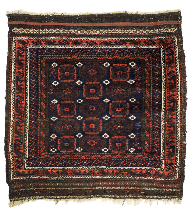 Maker: Unknown<br>Culture: Baluch <br>Title: Bag (khorjin) face <br>Date Made: 19th century <br>Type: Textile Materials: Wool warp, weft, and pile; asymmetrical knot <br>Place Made: Asia; Baluchistan (Iran, Pakistan, or Afghanistan) <br>Credit Line: Bequest of Eileen Paradis Barber <br>Accession Number: 1997.14.145.1 <br>Collection: Mount Holyoke College Art Museum