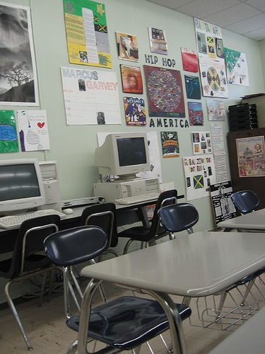 Image of a classroom wall display focused on hip hop history.