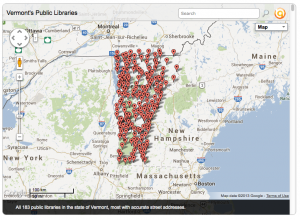 Image of Jessamyn West's Vermont library map