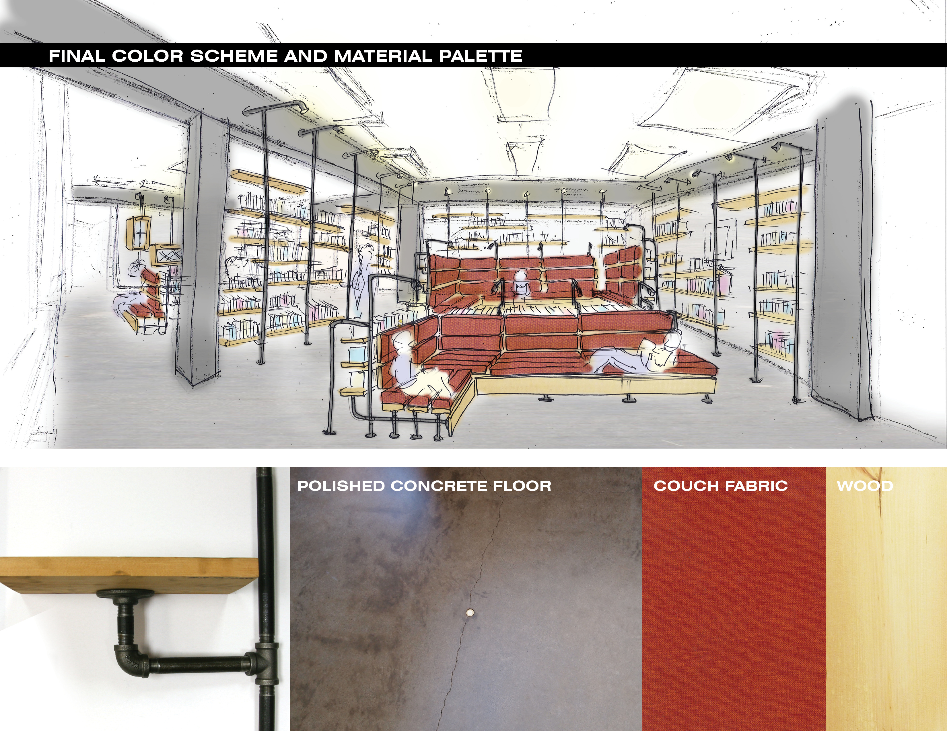 Final color scheme and material palette of Robert Seidey Reading room