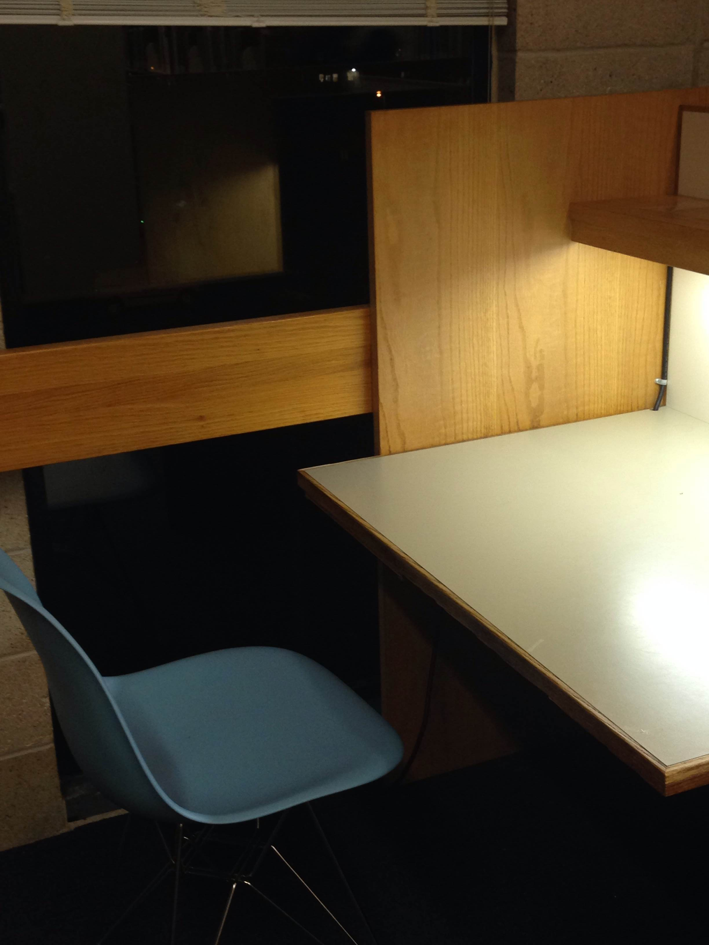 Image of a carrel in the Hampshire College library