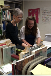 Jane and Marietta with the Seydel books