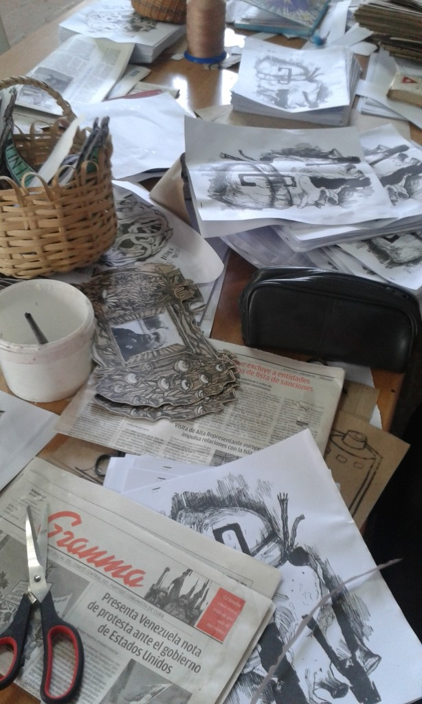 Materials used in the making of artists books at Ediciones Vigía, Matanzas, Cuba, April 2015. Photo credit: Michele Hardesty.