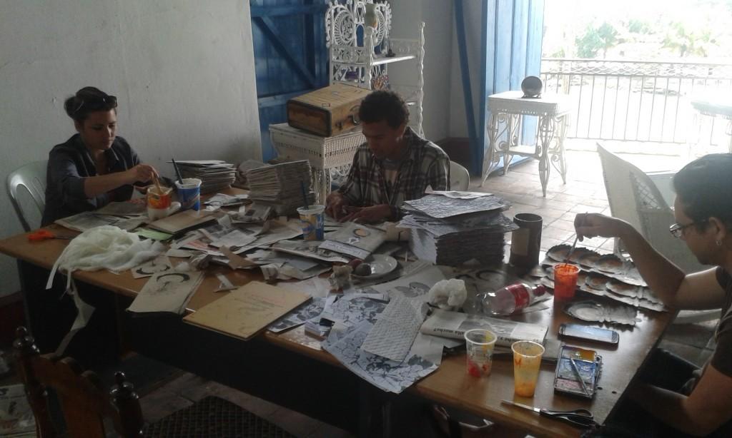 Artists working at Ediciones Vigía, Matanzas, Cuba.