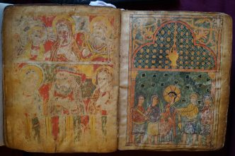 "Six illustrated folios from an ancient Gospel book depicting scenes from the life of Christ, bound later with a Miracles of Mary manuscript. Right: ""The Arrest of Christ."" Late 14th century-early 15th century. From the collection of Bob McCarthy."