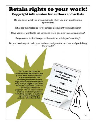 Learn how to retain rights to your work! February 21 at 9:20 am, Kern Center 106 or February 27 at 3;00 pm Kern Center 202