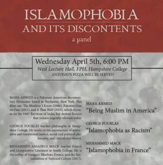 A speech by Pakistani-American filmmaker Mara Ahmed, April 5th, 6 pm, at West Lecture Hall, FPH,