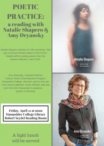 Read poems with Natalie Shapero and Amy Dryansky, Friday, April 21 at noon.
