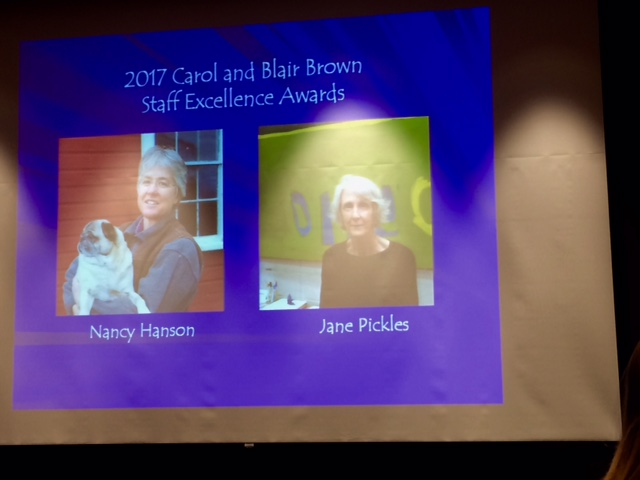2017 Blair Brown Award - screen with photos of Nancy Hanson and Jane Pickles