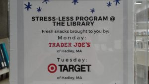 stress-less program @ library Tuesday night snacks by Target