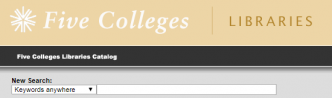 Five College Libraries Catalog search box