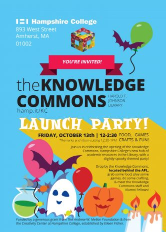 Lunch party to celebrate opening of Knowledge Commons, Friday, October 13th, at 12-2:30 pm
