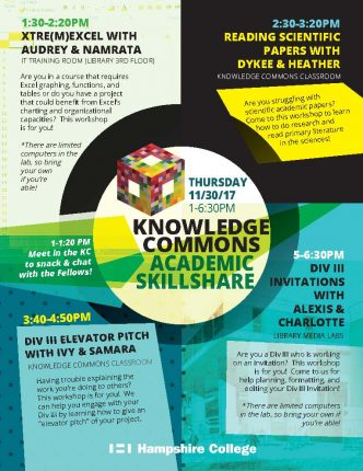 Knowledge Commons Academic Skillshare, Thursday 11/30/17, 1-6:30 pm