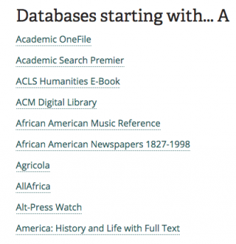List of library databases starting at A