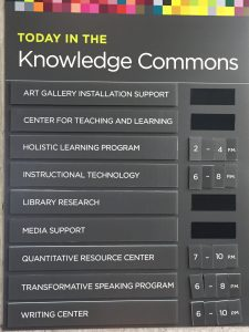 Posted hours for today in the Knowledge Commons