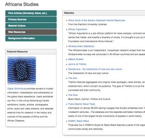 "Screenshot from ""Africana Studies"" Resource guide"