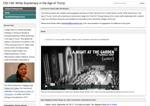 """Screenshot of """"White Supremacy in the Age of Trump"""" resource guide"""