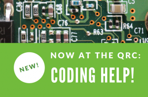 Flyer offering coding support for students in the Knowledge Commons