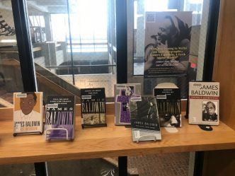 Books on display at the library InfoBar - by and about James Baldwin