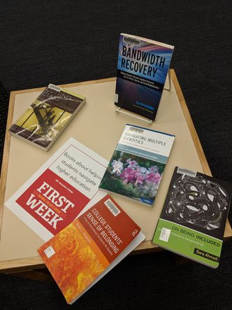A photograph of some books about navigating college on display