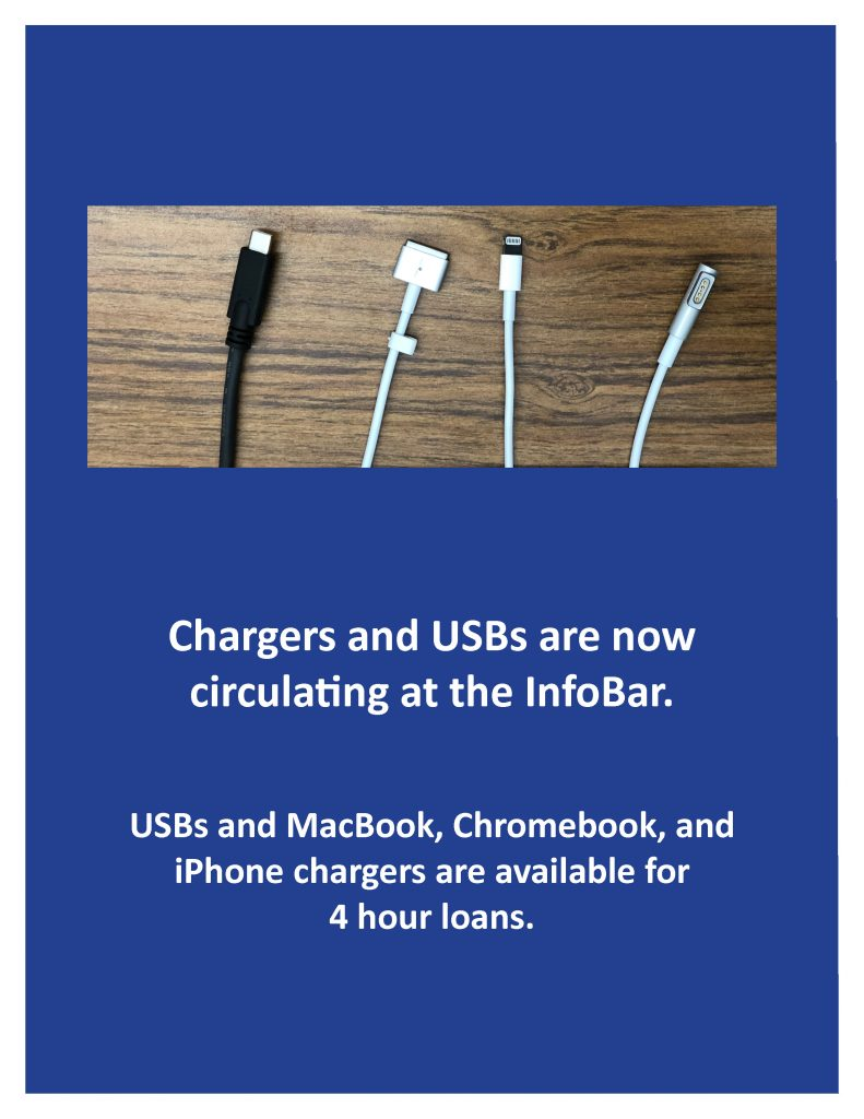 The InfoBar is now circulating chargers for phone and laptop