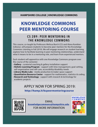 Image of the Flier for the Knowledge Commons Peer Mentoring Course