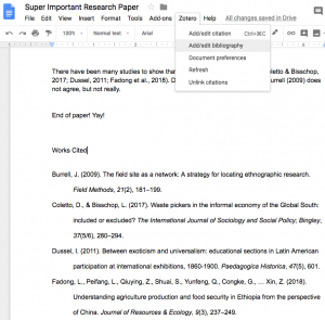 example of a bibliography generated using the Zotero tab in Google Docs