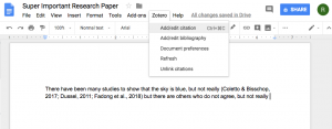 example showing the location of the zotero tab in google docs