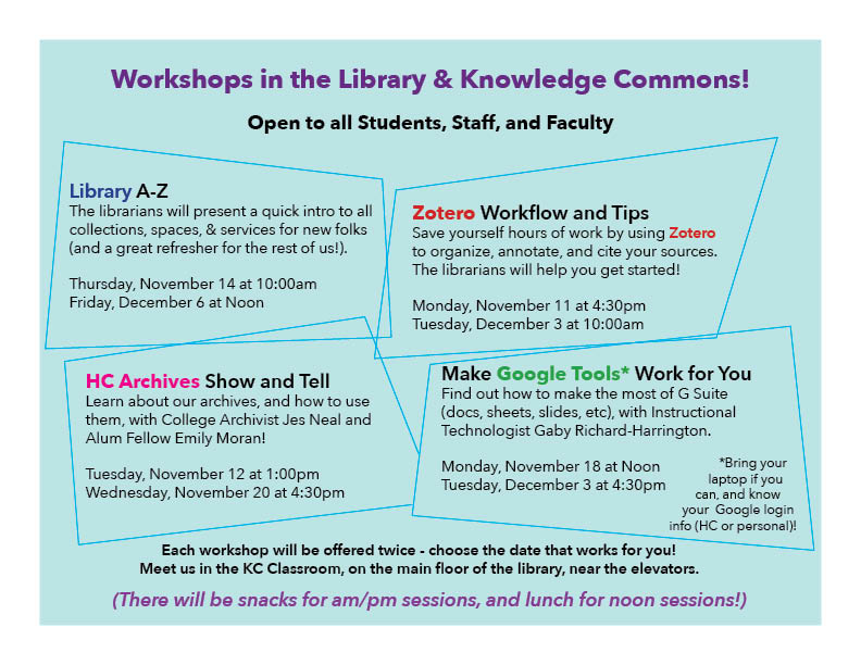 Image showing the descriptions & dates for 4 workshops in the Library & Knowledge COmmons. Text is replicated in the post.