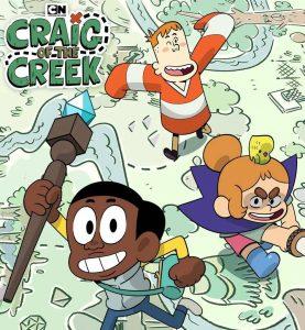 cartoon poster featuring three children