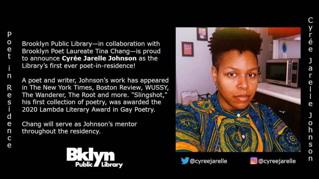 Cyree Jarelle Johnson appointed first poet-in-residence at the Booklyn Public Library